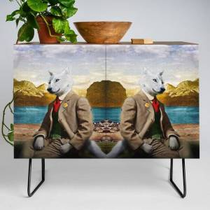 Society6 Mr. Wolf Relaxing At The Lake Modern Credenza Cupboard by Peter Gross - Black - Walnut