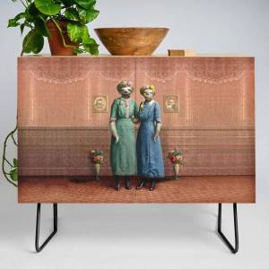 Society6 The Sloth Sisters At Home Modern Credenza Cupboard by Peter Gross - Black - Birch