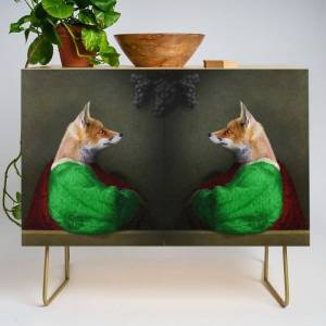 Society6 Portrait Of The Fox And The Grapes Modern Credenza Cupboard by Peter Gross - Gold - Birch
