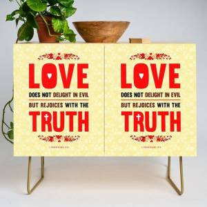 Society6 Love And Truth Modern Credenza Cupboard by Peter Gross - Gold - Birch