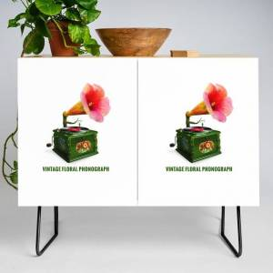 Society6 Organic Inventions Series: Vintage Floral Phonograph Modern Credenza Cupboard by Peter Gross - Black - Birch