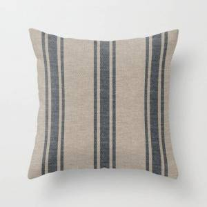 Society6 Farmhouse Linen Beige Grey Rustic Grain Sack Texture Vintage Farmhouse Lined Design Modern Rustic Couch Throw Pillow by Thecraftandcupboard - Cover (1