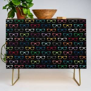 Society6 Colorful Hipster Glasses Pattern - Black Modern Credenza Cupboard by Whimsy Designs - Gold - Walnut