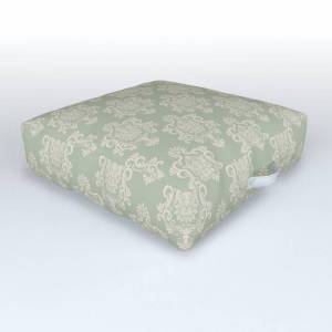 "Society6 Sage Green And Cream Damask Pattern Outdoor Floor Cushion by Thecraftandcupboard - 26"" x 26"" x 6"""