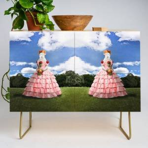 Society6 Semolina Sheep On Her Way To The Ball Modern Credenza Cupboard by Peter Gross - Gold - Birch