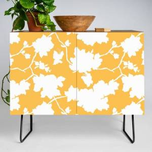Society6 Chinoiserie Silhouette Golden Yellow Modern Credenza Cupboard by Jacqueline Maldonado - Black - Walnut