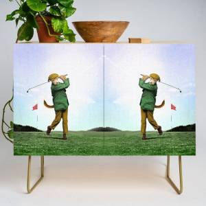 Society6 Sir Terrance Terrier Golfing Modern Credenza Cupboard by Peter Gross - Gold - Birch