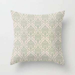 """Society6 Ivory And Sage Green Damask Pattern Couch Throw Pillow by Thecraftandcupboard - Cover (16"""" x 16"""") with pillow insert - Indoor Pillow"""