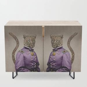 Society6 Grand Viceroy Leopold Leopard Modern Credenza Cupboard by Peter Gross - Black - Birch