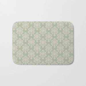 """Society6 Sage Green And Cream Damask Pattern Bath Mat by Thecraftandcupboard - 17"""" x 24"""""""