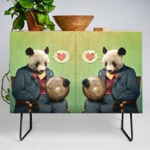 Society6 Wise Panda: Love Makes The World Go Around! Modern Credenza Cupboard by Peter Gross - Black - Birch