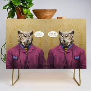 """Society6 Mr. Owl Says: """"hoot Happens!"""" Modern Credenza Cupboard by Peter Gross - Gold - Birch"""
