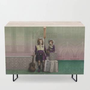 Society6 The Country Collies Modern Credenza Cupboard by Peter Gross - Black - Birch