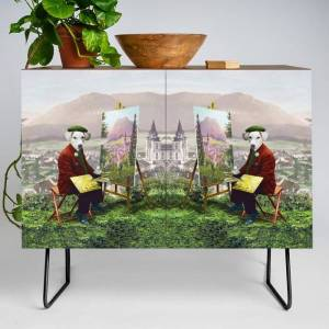 Society6 Sir Langford Labrador While Plein Air Painting Modern Credenza Cupboard by Peter Gross - Black - Walnut