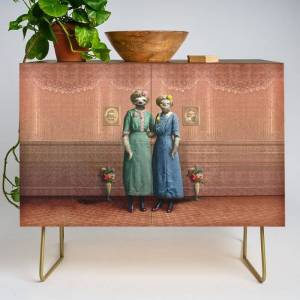 Society6 The Sloth Sisters At Home Modern Credenza Cupboard by Peter Gross - Gold - Walnut