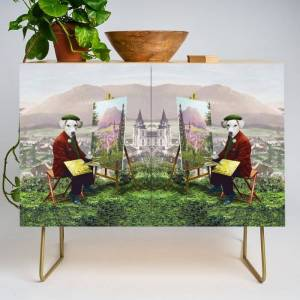Society6 Sir Langford Labrador While Plein Air Painting Modern Credenza Cupboard by Peter Gross - Gold - Birch