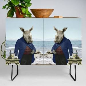 Society6 Mr. Rhino's Day At The Beach Modern Credenza Cupboard by Peter Gross - Black - Walnut