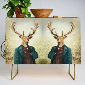 Society6 Lord Staghorne In The Wood Modern Credenza Cupboard by Peter Gross - Gold - Walnut