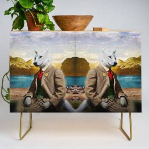 Society6 Mr. Wolf Relaxing At The Lake Modern Credenza Cupboard by Peter Gross - Gold - Birch
