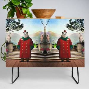 Society6 Ambassador Ulysses Ursa In The Embassy Gardens Modern Credenza Cupboard by Peter Gross - Black - Birch