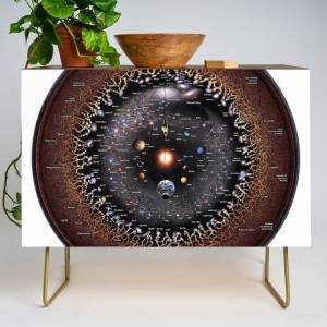 Society6 Observable Universe Logarithmic Illustration (annotated 2019 Version!) Modern Credenza Cupboard by Pablo Carlos Budassi - Gold - Walnut