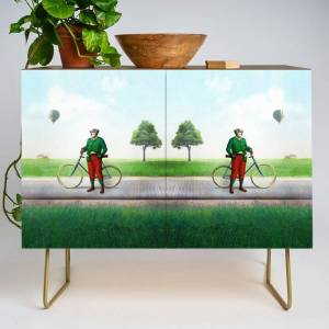 Society6 Mr Cyrus D. Chympe On The Cycling Trail Modern Credenza Cupboard by Peter Gross - Gold - Walnut