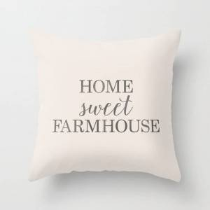 """Society6 Home Sweet Farmhouse, Rustic Farmhouse Style Word Art, Home Sweet Home Couch Throw Pillow by Thecraftandcupboard - Cover (16"""" x 16"""") with pillow inser"""