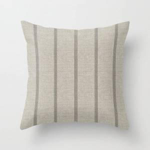 Society6 Farmhouse Linen Grey Rustic Grain Sack Texture Vintage Farmhouse Lined Linen Design Modern Rustic Couch Throw Pillow by Thecraftandcupboard - Cover (1