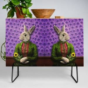Society6 Miss Bunny Lapin In Repose Modern Credenza Cupboard by Peter Gross - Black - Birch
