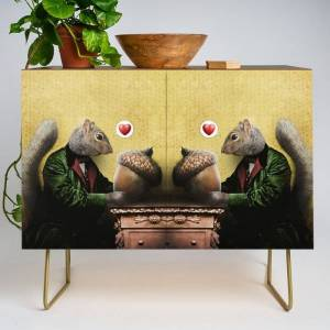 Society6 Mr. Squirrel Loves His Acorn! Modern Credenza Cupboard by Peter Gross - Gold - Walnut