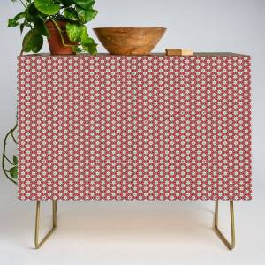 Society6 Paramour Pattern Modern Credenza Cupboard by Peter Gross - Gold - Walnut