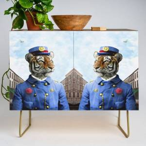 Society6 Postmaster Trenton Tigre On His Appointed Rounds Modern Credenza Cupboard by Peter Gross - Gold - Walnut