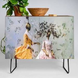 Society6 China Through The Looking Glass 3 Modern Credenza Cupboard by Alison Gross - Black - Walnut