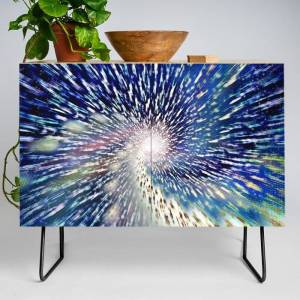 Society6 Into The Void Modern Credenza Cupboard by Peter Gross - Black - Birch