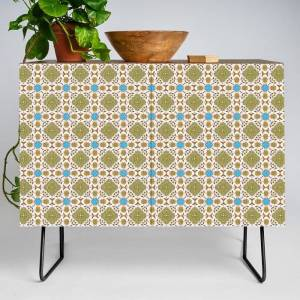Society6 Venetian Blue And Gold Pattern Modern Credenza Cupboard by Peter Gross - Black - Walnut