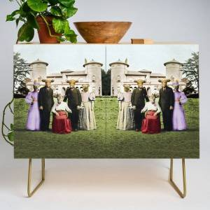 Society6 Cowtown Abbey Modern Credenza Cupboard by Peter Gross - Gold - Birch