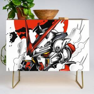 Society6 Astray Red Frame Bust F-12 Modern Credenza Cupboard by Syndicatestudio - Gold - Walnut