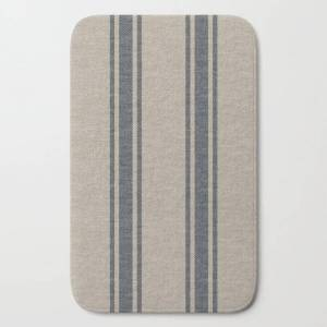 "Society6 Farmhouse Linen Grey Rustic Grain Sack Texture Vintage Farmhouse Lined Linen Design Modern Rustic Bath Mat by Thecraftandcupboard - 21"" x 34"""