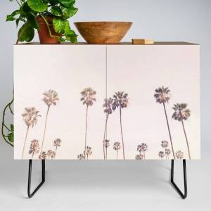 Society6 Sunny Cali Palm Trees Modern Credenza Cupboard by Sisi And Seb - Black - Walnut
