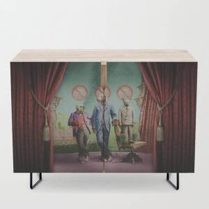 Society6 The Three Distinguished Members Of The Committee To Handle The Squirrel Problem Modern Credenza Cupboard by Peter Gross - Black - Birch