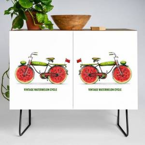 Society6 Organic Inventions Series: Vintage Watermelon Bicycle Modern Credenza Cupboard by Peter Gross - Black - Walnut