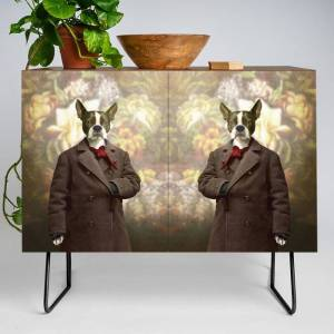 Society6 Barney The Boston Terrier In The Arboretum Modern Credenza Cupboard by Peter Gross - Black - Walnut