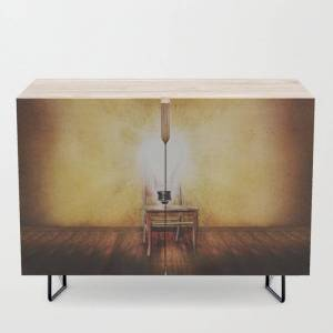 Society6 The Seat Of Big Ideas Modern Credenza Cupboard by Peter Gross - Black - Birch