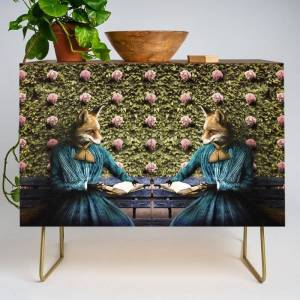 Society6 Fiona Fox Reading In The Garden Modern Credenza Cupboard by Peter Gross - Gold - Walnut