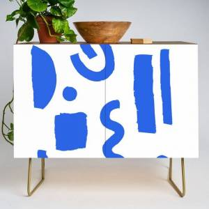 Society6 Brush Stroke Minimal 19 - Abstract Pattern Shapes Modern Mid Century Texture Blue. Gift Idea Home Deco Modern Credenza Cupboard by Marlenecanto - Gold