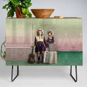 Society6 The Country Collies Modern Credenza Cupboard by Peter Gross - Black - Walnut