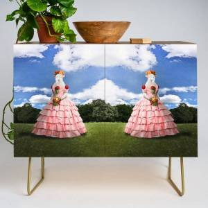 Society6 Semolina Sheep On Her Way To The Ball Modern Credenza Cupboard by Peter Gross - Gold - Walnut