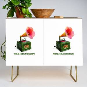 Society6 Organic Inventions Series: Vintage Floral Phonograph Modern Credenza Cupboard by Peter Gross - Gold - Walnut