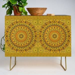 Society6 Golden Lace Mandala Pattern Modern Credenza Cupboard by Peter Gross - Gold - Walnut