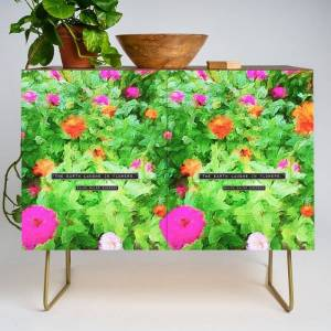 Society6 Emerson On Flowers Modern Credenza Cupboard by Peter Gross - Gold - Walnut